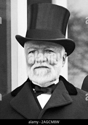 Vintage photo of Scottish-American industrialist and philanthropist Andrew Carnegie (1835 – 1919). Photo circa 1914 by Harris & Ewing. - Stock Photo