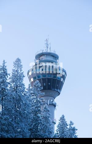 Puijo tower in Kuopio Finland in the winter - Stock Photo