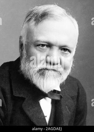Vintage portrait photo of Scottish-American industrialist and philanthropist Andrew Carnegie (1835 – 1919). Photo circa 1896 by B L H Dabbs of Pittsburgh. - Stock Photo
