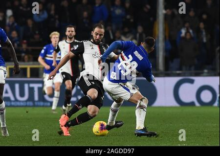 Genova, Italy. 18th Dec, 2019. gonzalo higuain (juventus), nicola murru (sampdoria)during Sampdoria vs Juventus, Italian Soccer Serie A Men Championship in Genova, Italy, December 18 2019 - LPS/Danilo Vigo Credit: Danilo Vigo/LPS/ZUMA Wire/Alamy Live News - Stock Photo