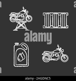 Auto workshop chalk icons set. Motorbike jack, car tires, motor oil, motorcycle. Isolated vector chalkboard illustrations - Stock Photo