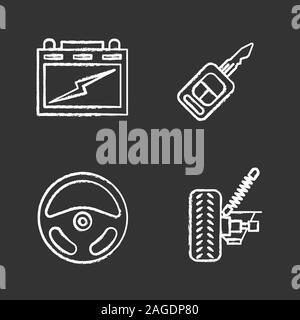 Auto workshop chalk icons set. Automotive battery, car suspension, rudder, key. Isolated vector chalkboard illustrations - Stock Photo