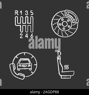 Auto workshop chalk icons set. Car with handset, heated car seat, gear stick, disc brake. Isolated vector chalkboard illustrations - Stock Photo
