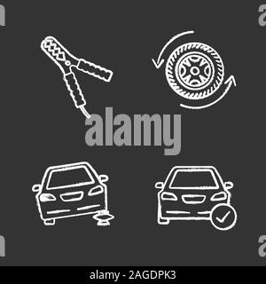 Auto workshop chalk icons set. Automobile with checkmark, car jumper, changing wheel, auto repair jack. Isolated vector chalkboard illustrations - Stock Photo