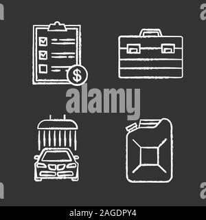 Auto workshop chalk icons set. Car washing, steel jerry can, invoice, construction toolbox. Isolated vector chalkboard illustrations - Stock Photo