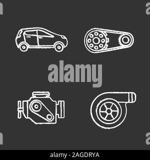 Auto workshop chalk icons set. Car, sprocket wheel, engine, turbocharger. Isolated vector chalkboard illustrations - Stock Photo