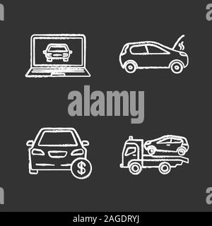 Auto workshop chalk icons set. Computer diagnostics, broken car, automobile buying, tow truck. Isolated vector chalkboard illustrations - Stock Photo