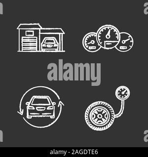 Auto workshop chalk icons set. Garage, dashboard, car with circle arrow, tire pressure gauge. Isolated vector chalkboard illustrations - Stock Photo
