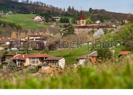 Saint Antoine l'Abbaye during springtime - Stock Photo