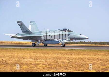 Royal Australian Air Force F/A-18 Hornet is a twin seat Multi-role fighter - Stock Photo