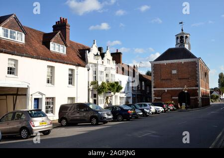 The High Street and Market Hall in Old Amersham, Buckinghamshire, England - Stock Photo