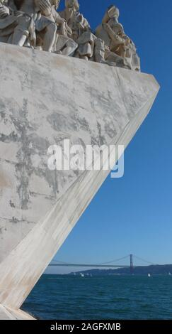 Lisbon, Portugal / 7 November 2015: view of the Monument of the Discoveries on the Tagus River in Lisbon - Stock Photo