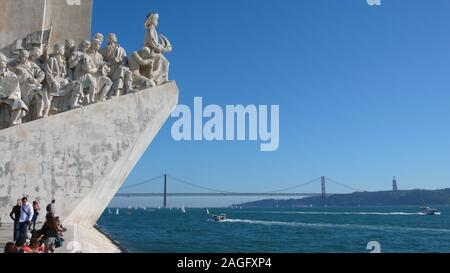 Lisbon, Portugal / 7 November 2015: many tourists enjoy a visit to the Monument of the Discoveries on the Tagus River in Lisbon - Stock Photo
