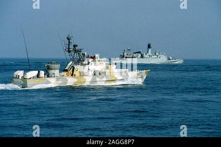 The Norwegian MTB 'Tjeld' in company with the Danish Frigate - Stock Photo