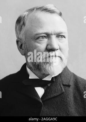 Vintage portrait photo of Scottish-American industrialist and philanthropist Andrew Carnegie (1835 – 1919). Photo circa 1880 by Brady-Handy. - Stock Photo