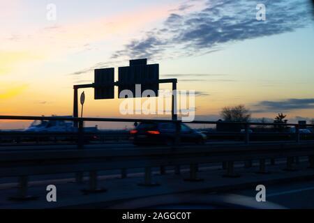 Traffic on a German highway near Frankfurt, Hesse, Germany. - Stock Photo
