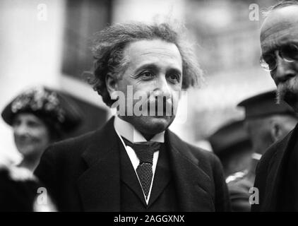 Vintage photo of theoretical physicist Albert Einstein (1879 – 1955). Photo by Harris & Ewing taken in Washington DC circa 1921. - Stock Photo