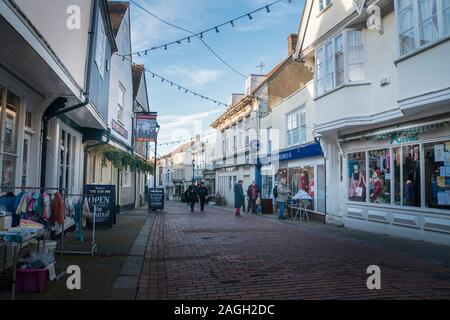 View of West Street in the medieval market town of Faversham, Kent, UK - Stock Photo