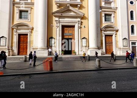 Front entrance of the Basilica of SS. Ambrose and Charles, San Carlo al Corso, Rome, Italy. - Stock Photo