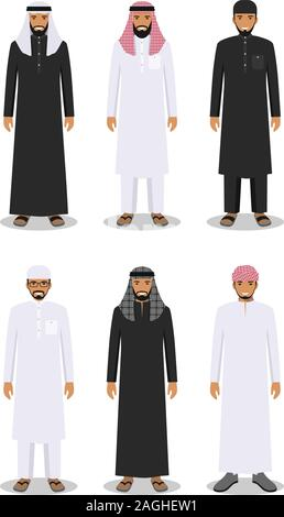 Set of different standing arab men in the traditional muslim arabic clothing isolated on white background in flat style. Arab traditional muslim - Stock Photo