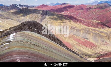 Palccoyo new the rainbow mountain in Palccoyo, Cusco, Peru - Stock Photo