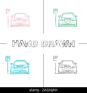 Parking zone hand drawn icons set. Car with P road sign. Color brush stroke. Isolated vector sketchy illustrations - Stock Photo