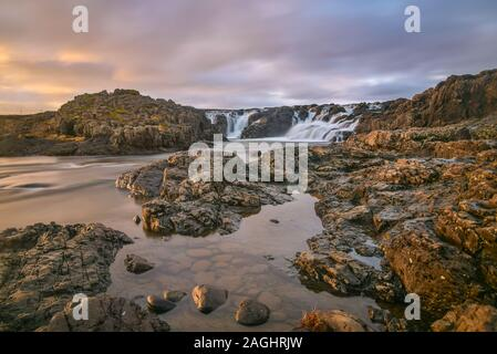 Langarfoss waterfall on Snaefellsnes Peninsula, Iceland. - Stock Photo