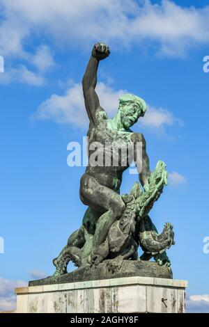 BUDAPEST, HUNGARY - MARCH 2019: Ancient statue on Gellert Hill in Budapest near the Freedom or Liberty statue - Stock Photo