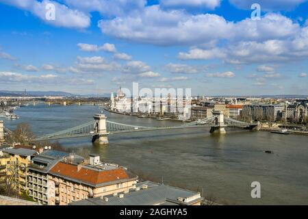 BUDAPEST, HUNGARY - MARCH 2018: Cityscape of Budapest with the River Danube and the Chain Bridge in the foreground. - Stock Photo