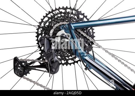 bike rear derailleur path isolated on white - Stock Photo