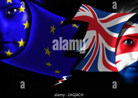 Brexit. UK leaving EU. Flags of United Kingdom and European Union painted on human face. - Stock Photo