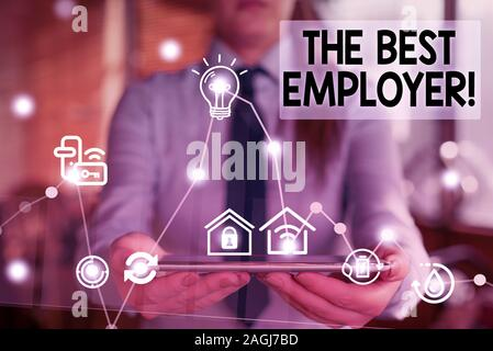 Handwriting text writing The Best Employer. Conceptual photo created workplace showing feel heard and empowered - Stock Photo