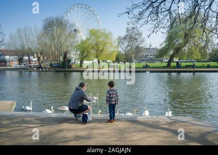 Father and young son enjoying a day out in Stratford upon Avon, UK - Stock Photo