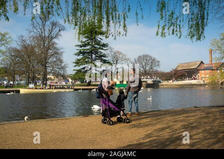 British Asian family enjoying a day out in Stratford upon Avon, UK - Stock Photo