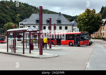Bus station of the city of Glashutte in the Saxon Switzerland-Eastern Ore Mountains district - Stock Photo