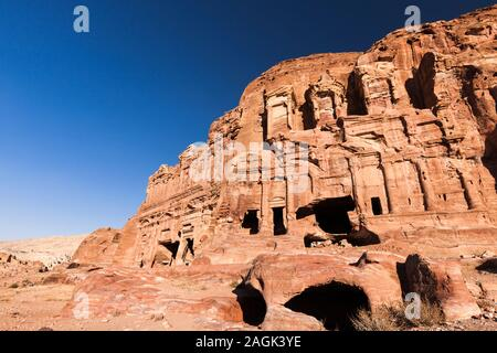 Petra, Royal Tombs in the Lost City, sculptured old architecture, Jordan, middle east, Asia - Stock Photo