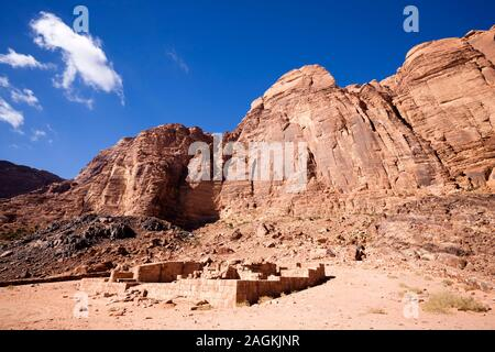 Wadi Rum, Nabataen Temple, and view of eroded rocky moutains, Jordan, middle east, Asia - Stock Photo