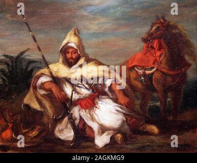 Horseman of the Sultan's moroccan Guard by Eugène Delacroix ( 1798-1863) french painter / pintor y litógrafo francés Stock Photo