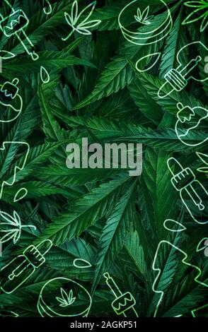 Christmas background, frame of hemp leaves, marijuana with an illustration of CBD products. Flat Lay Copy Space - Stock Photo