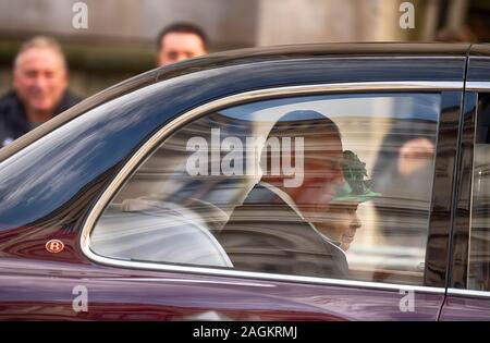Whitehall, London, UK. 19th December 2019. The Queen accompanied by Prince Charles attends the State Opening of Parliament to deliver The Queen's Speech, travelling by car. Credit: Malcolm Park/Alamy. - Stock Photo