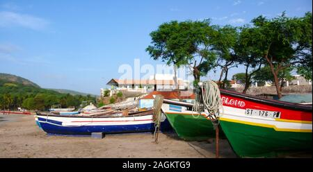 Tarrafal, Santiago / Cape Verde - 12. November, 2015: colorful wooden fishing boats on the beach of Tarrafal in Cape Verde - Stock Photo