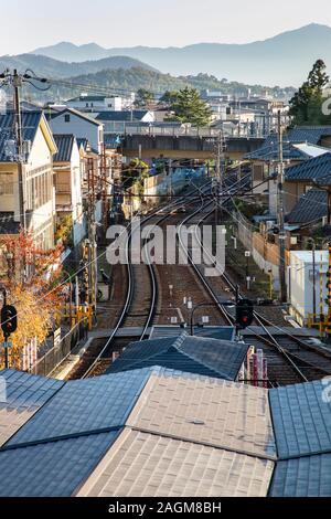 KYOTO, JAPAN -22nd November 2019: Arashiyama Station is a tram stop  and the western terminus of the Randen Arashiyama Line that begins at Shijō-Ōmiya - Stock Photo