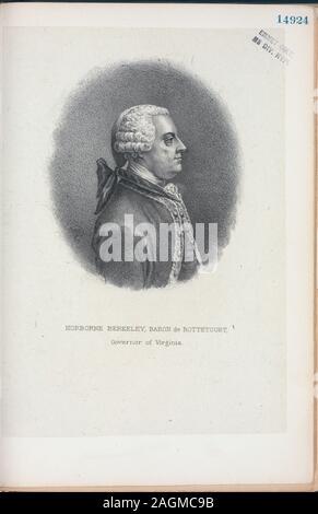 EM14924; Norborne Berkeley, Baron de Bottetourt [sic], Governor of Virginia. - Stock Photo