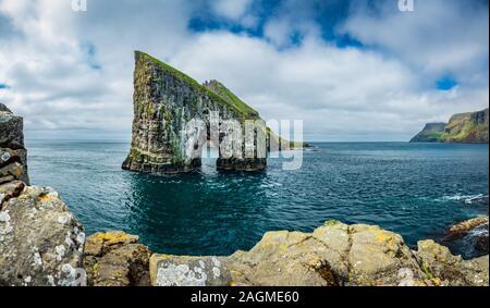 Amazing gigapan panorama of Drangarnir Faroe Islands - Stock Photo