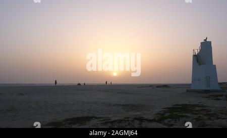Scenic view point tower on the beach at sunset on Sal Island in Cape Verde - Stock Photo