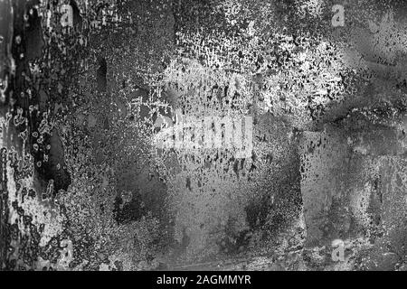 Abstract black and white aged grunge texture background, dark and light scratches, monochrome metallic backdrop, gray stained surface, frosty glass - Stock Photo