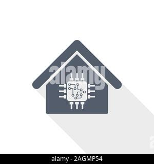 Smart house vector icon, technology, home, electronic concept flat design illustration for web design and mobile applications - Stock Photo