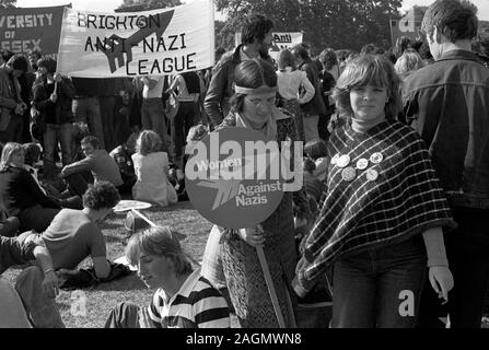 Rock Against Racism march and rally Hyde Park London 1978. Anti Nazi League banner says Love Music Hate Racism. 1970s UK HOMER SYKES - Stock Photo