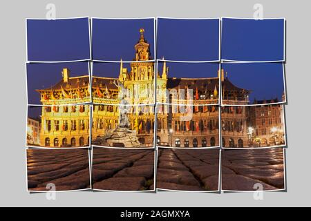 Marketplace Grote Markt with the town hall Stadhuis, Flanders, Antwerp, Belgium, Europe - Stock Photo