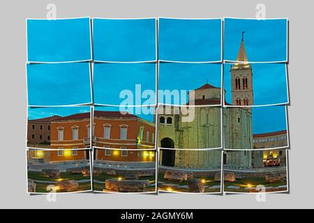 The Forum, city marketplace, located in front of the church of Saint Donat and the Saint Anastasias Cathedral, Zadar, Dalmatia, Croatia, Europe - Stock Photo